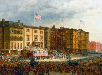 A patriotic demonstration: Presentation of colors before the Union League Club, 1864, by Edward Lamson Henry