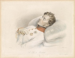 Napoleon II wearing the cross of the order in his deathbed, 1832