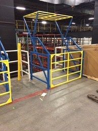 Industrial safety gate for mezzanines