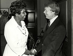 Jordan and President Carter, ca. 1977.  Photo by Dev O'Neill.