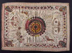 Embroidery on Nakshi kantha (embroidered quilt), centuries-old Bengali art tradition