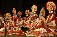 Top: Ancient Kuttiyattam.Bottom: Kathakali (Mahabharata characters playing Choothu).
