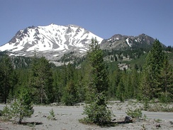 Lassen Peak in the California Cascades. Southernmost volcano in the Cascade Range and part of Lassen Volcanic National Park