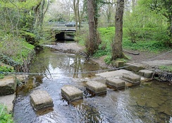 A stepping stone crossing over Leadmill Beck (also known as Risedale Beck further upstream) in Catterick Garrison