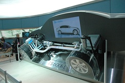 Side view of a cutaway car chassis.