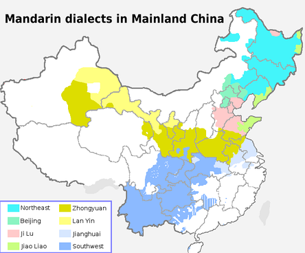 The eight main dialect areas of Mandarin in Mainland China.
