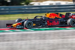 Max Verstappen at the 2019 Hungarian Grand Prix, driving the Red Bull RB15.