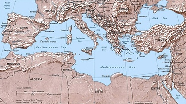 Physical and political map of the Mediterranean Basin