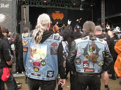 Patches with band logos and cover art are usually sewn on the denim jackets of metalheads.[56]