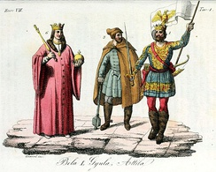 Attila (right) as a king of Hungary together with Gyula and Béla I, Illustration for Il costume antico e moderno by Giulio Ferrario (1831).