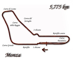 Monza (with re-profiling of the Variante Ascari in 1974) used in 1972–1975