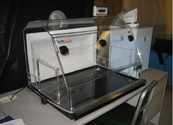 A nanomaterial containment hood, an example of an engineering control used to protect workers handling them on a regular basis.