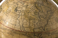1765 de l'Isle globe, showing a fictional Northwest Passage.