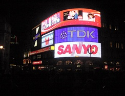 Sanyo logo on neon signs of Piccadilly Circus