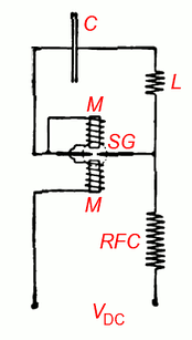 Circuit of basic arc converter, from Poulsen's 1904 paper (labels added).