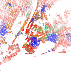Map of racial distribution in New York, 2010 U.S. Census. Each dot is 25 people: White, Black, Asian, Hispanic or Other (yellow)