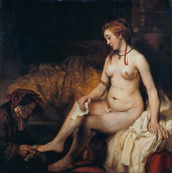 Bathsheba at Her Bath by Rembrandt, 1654. The story of King David and Bathsheba illustrates covetousness that led to the sins of adultery and murder.