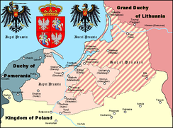 Duchy of Prussia (striped) in the second half of the 16th century.