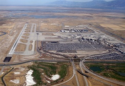 Salt Lake International Airport sits between downtown Salt Lake City and the Great Salt Lake.