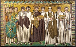 A mosaic showing Justinian with the bishop of Ravenna (Italy), bodyguards, and courtiers.[58]