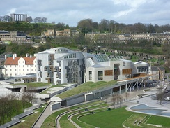 Scottish Parliament building, Holyrood, opened in 2004 and intended to evoke the crags of the Scottish landscape and, in places, upturned fishing boats