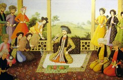 Shah Suleiman I and his courtiers, Isfahan, 1670. Painter is Aliquli Jabbadar, and is kept at The St. Petersburg Institute of Oriental Studies in Russia, ever since it was acquired by Tsar Nicholas II. Note the two Georgian figures with their names at the top left.
