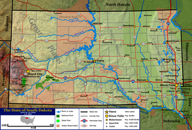 Terrain and primary geographic features of South Dakota