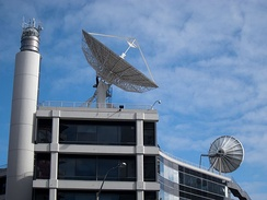 Satellite dish on roof of TVNZ Building, Hobson Street, Auckland CBD
