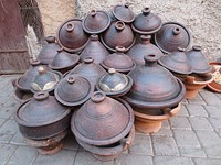 The traditional tagine clay pot, used to cook tajine (dish)