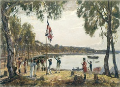 Governor Arthur Phillip hoists the British flag over the new colony at Sydney in 1788