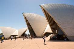 Tourists visiting the Sydney Opera House