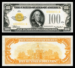 Both views (obverse and reverse) of the Series 1934 $100 Gold Certificate.