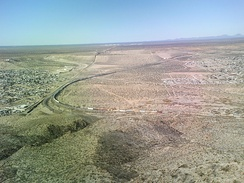 In this photo, the Mexico–United States border divides Sunland Park and the Mexican state of Chihuahua.