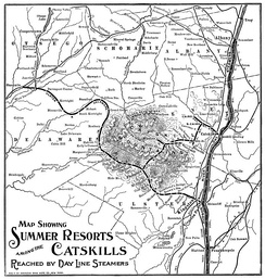 A map of the railroads in the Catskill Mountains. Despite what the map says, nearly the entirety of this map is of the Catskills. East of the Hudson River are The Berkshires and the Taconic Mountains, and to the far north (central and northern Albany County, and far northern Schoharie County) are the Appalachians.