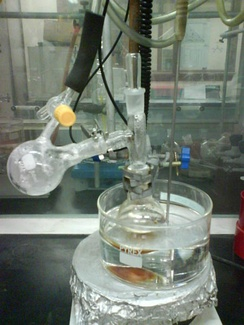 Dimethyl sulfoxide usually boils at 189 °C. Under a vacuum, it distills off into the receiver at only 70 °C.