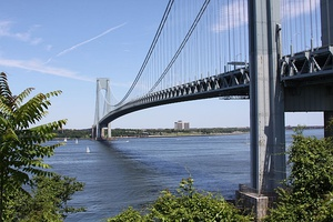 The Verrazzano-Narrows Bridge connecting Staten Island to Brooklyn across The Narrows.