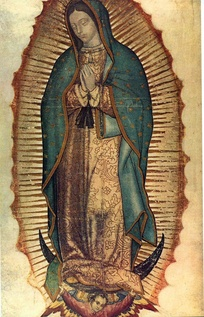 Our Lady of Guadalupe, patron saint of Mexico. This painting of her at the Basilica of Guadalupe is among her most notable depictions; scientists still debate if it should be dated 1531, the year of the first apparition,[301] or the 1550s.[302]