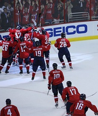 The Capitals celebrate after defeating the New York Rangers in the 2009 Stanley Cup playoffs.