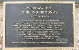 Weehawken dueling grounds historical marker (2004)