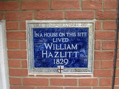 Plaque in Bouverie Street, London, marking the site of William Hazlitt's house.