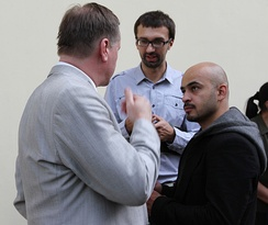 Ukrayinska Pravda's chief investigative journalists, Serhiy Leshchenko (center) and Mustafa Nayem (right), interview politician Taras Chornovil.
