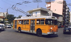A 1961 Alfa Romeo 1000 (Mille) Aerfer FI 711.2 OCREN trolleybus on the Naples ANM trolleybus system