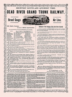 An 1871 American advertisement promoting temperance, styled as a fictitious railroad advertisement
