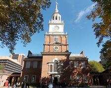 The bell tower atop Independence Hall, formerly home to the Liberty Bell (Independence National Historical Park)