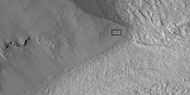 Close view of part of glacier, as seen by HiRISE under HiWish program Box shows size of football field.