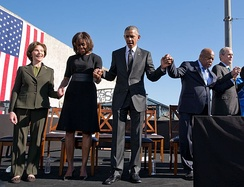 50th Anniversary of the 1965 Selma Marches - Former First Lady Laura Bush, First Lady Michelle Obama, President Barack Obama, John Lewis, and Former President George W. Bush