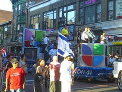 A Univision float in the 2010 North Hudson Cuban Day Parade in Union City, New Jersey.