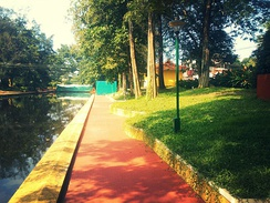 Commercial canal walkway in Alleppey west