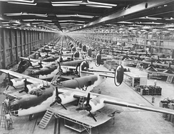 Consolidated B-24 Liberators (long-range bombers) at the Consolidated-Vultee Plant, Fort Worth, 1943