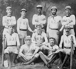 A baseball team and its uniforms in the 1870s. Note that the team is integrated, in contrast to 20th century MLB, which was segregated until 1947.